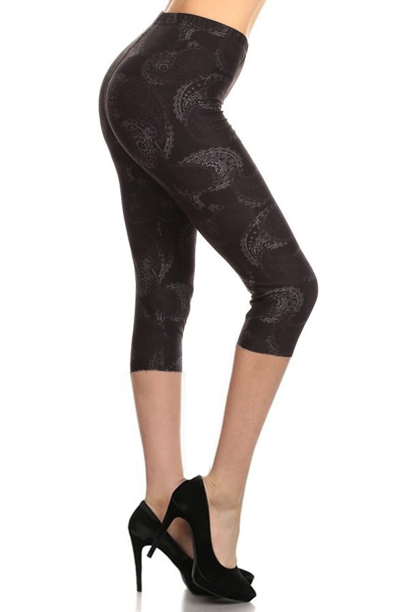 Leggings Depot Capri REG/Plus Women's Buttery Popular Prints BAT13 (Plus Size (Size 12-24), Fading Paisley)