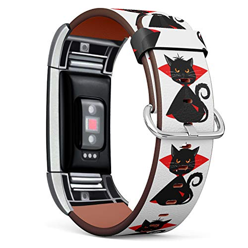 Replacement Leather Strap Printing Wristbands Compatible with Fitbit Charge 2 - Halloween Vampire Black Cat
