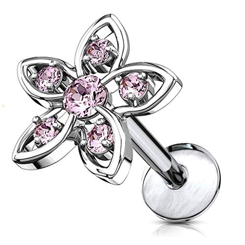 8mm Helix - Forbidden Body Jewelry 16g Internally Threaded Surgical Steel CZ Flower Top Cartilage Stud - 8mm Pink