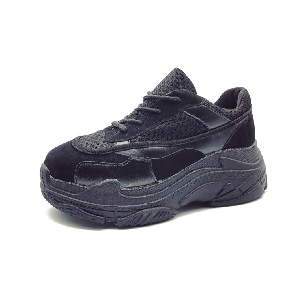 JRenok 19997 Femmes Sneakers Plate-Forme Chaussures Chaussures Femme Noir Casual Pompes Dames Lace Up Mesh lianes augmenté Chaussures internes Femmes Noir f8625d7 - epictionpvp.space