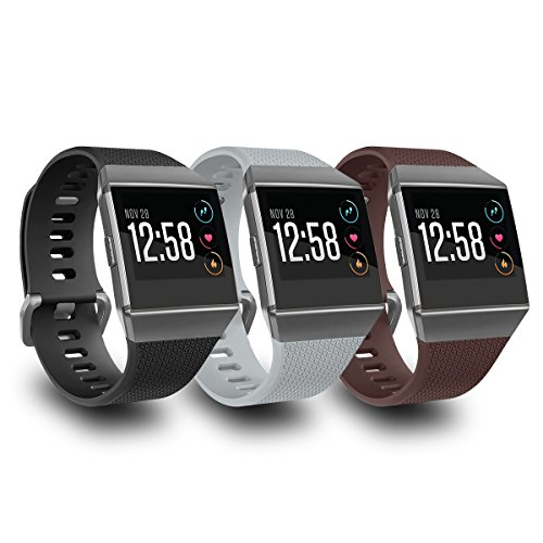 AIUNIT Compatible Fitbit Ionic Bands for Men Women Teens Kids Large with Smoke Gray Buckle, Replacement Strap Sport Accessory Wristband for Fitbit Ionic Smart Watch Black Gray Brown