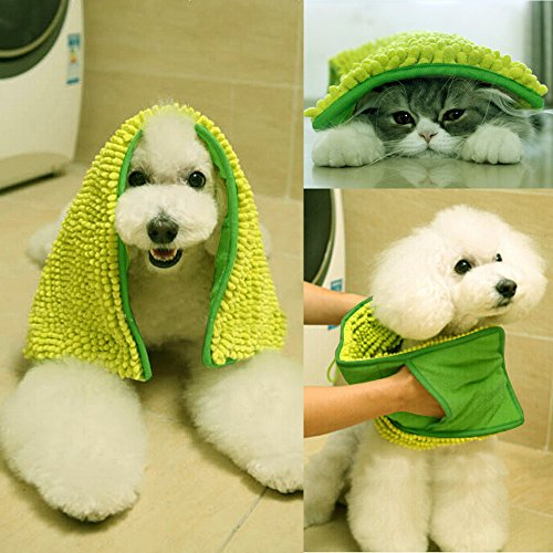 """i'Pet® Ultra Soft and Absorbent Microfiber Chenille Towel with Hand Pockets Dog/Cat Bath Cloth & Bathing Absorbing Fast-Dry Quick Drying No """"Wet Doggy"""" Smell Also Recommended for Hair Drying Towel (Green)"""