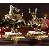 "Roman Set of 2 Joseph's Studio Reindeer Christmas Stocking Holders 8.5"""