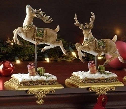 Roman Set of 2 Joseph's Studio Reindeer Christmas Stocking Holders 8.5