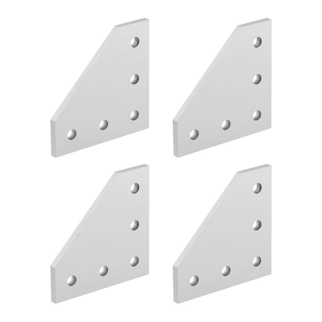 sourcing map 5-Trou L Forme Plaque Jonction Externe 2020 Aluminium Profil Argent 4Pcs