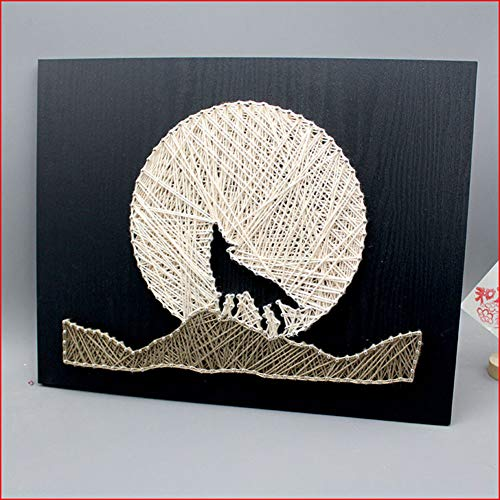 DIY Thread Winding Three-Dimensional Night Wolf Decorative Painting, Home Decor Mural DIY Material Package Decompression Tabletop Decoration Ornament, Parent-Child Manual Interactive Game by Home Decoration (Image #2)