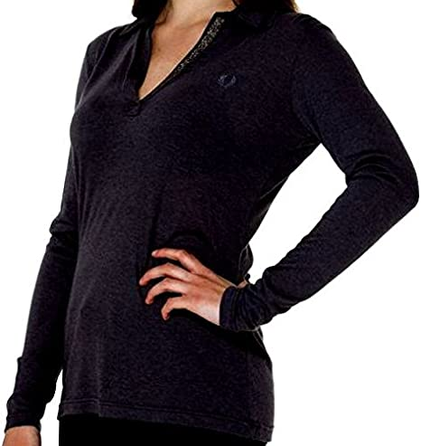 Fred Perry Camiseta Polo Mujer Cuello V Negro Sweater Woman V Neck ...