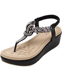 Women's Bohemian Platform Sandals Rhinestone Bead Wedge Shoes Thong Sandal