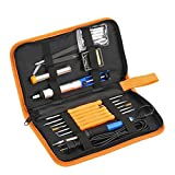 Electric Soldering Iron Kit ,Full Set 60W 110V with Adjustable Temperature Welding Iron, 5pcs Tips, Desoldering Pump, 2pcs Tweezers, Tin Wire Tube, Stand and 6pcs Aid Tools in PU Carry Bag