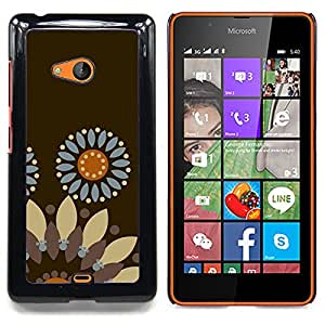For Microsoft Nokia Lumia 540 N540 - flower pattern brown wallpaper /Modelo de la piel protectora de la cubierta del caso/ - Super Marley Shop -