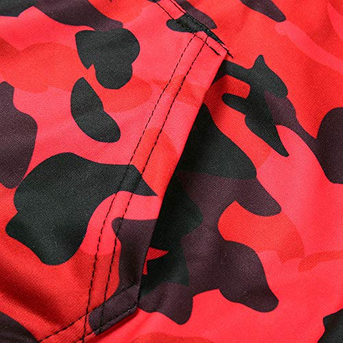 Two Hooded Jackets Coats Camouflage Print TEBAISE Blouse Tops Red Autumn Outwear Zipper Men's Sweatshirt Pockets 1qf0XA
