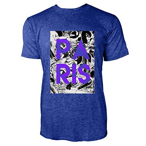 SINUS ART® Grafik Print – Paris Herren T-Shirts in Vintage Blau Cooles Fun Shirt mit tollen Aufdruck