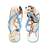 Truly Teague Kid's Little Vintage Angel Playing Violin Caribbean Blue Rubber Flip Flops Sandals 9-11