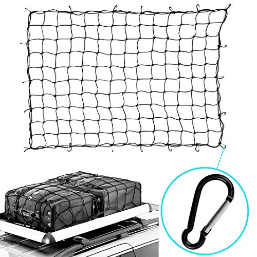 GROWNEER 4'x6' Bungee Cargo Net Heavy Duty Truck Bed Net Stretches to 8'x12'' Bungee Cord Tie-Down Net for Rooftop Cargo Carrier with 20 Hooks Small 5