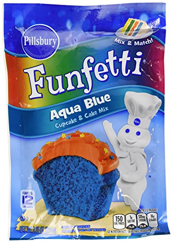 Pillsbury Funfetti Cupcake and Cake Mix 8.25oz Pouch (Pack of 6) Select Color Below (Aqua - Colors Mix Online