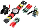 Lego 8020813 Star Wars Boba Fett and Darth Vader Kids Buildable Watch with Link Bracelet and Minifigures | Black/red | Plastic | 25mm case Diameter| Analog Quartz | boy Girl | Official