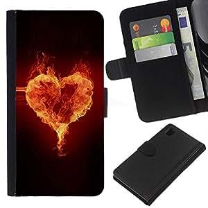 Ihec-Tech / Flip PU Cuero Cover Case para Sony Xperia Z1 L39H - Fire heart