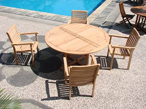 Amazon.com : 5 Pc Grade-A Teak Wood Dining Set - 60