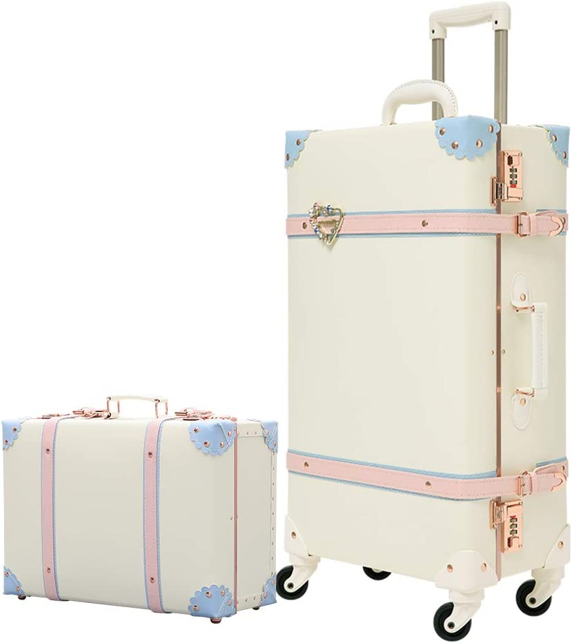 Uretravel Girls Vintage Trolley Suitcase Sets Trunk Rolling Spinner 2 piece Luggage Sets for Women