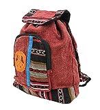 DharmaObjects Hippie Bohemian Raw Cotton Handmade Backpack Burgandy