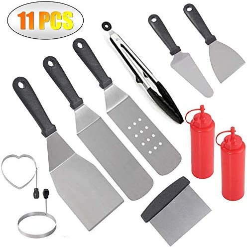 Vermida Griddle Accessories Set,11 Pack Flat Top Grill Accessories,Professional Metal Griddle Cooking Kit,Stainless Steel Grill Griddle Tools for Camping,Outdoor,BBQ and Flat Top Cooking