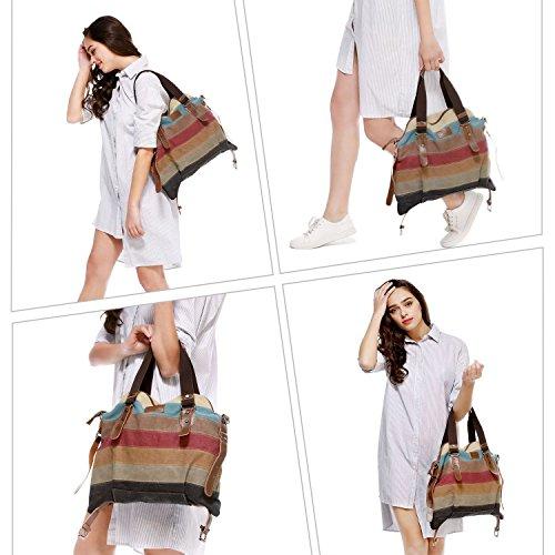 Bolsos de 2 Totalizador Multicolor Mujer Aiteen Style Rayas Bandolera Lona Hombro Mujer xwqFwA15