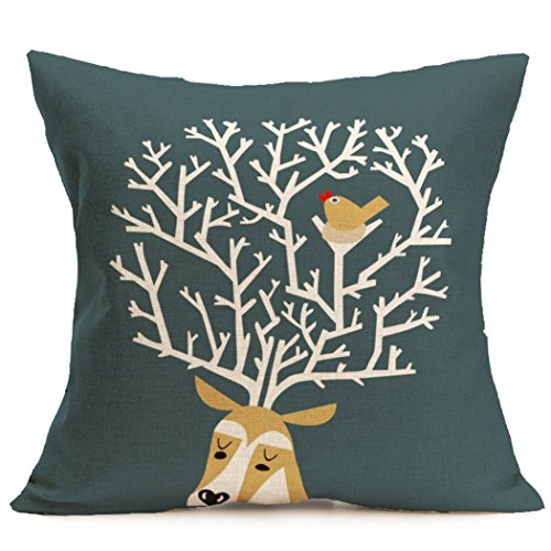 [Gotd Christmas Elk Pattern Square Decorative Linen Pillowcases Throw Pillow Case Cushion Cover 18 X 18