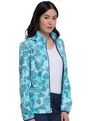 HeartSoul Women's Warm-Up Heart Print Scrub Jacket Small Print