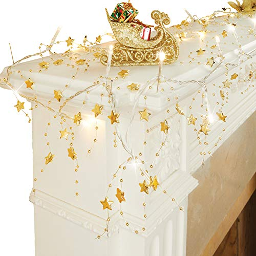 Collections Etc Lighted Star Beaded Garland Holiday Decoration, Gold (Garland Winston)