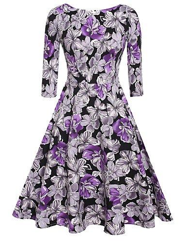 PU&PU Robe Aux femmes Swing Vintage,Fleur Col Arrondi Mi-long Coton , purple-2xl , purple-2xl