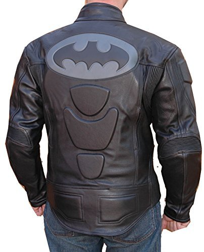 - Motorcycle New Black Cowhide Leather Batman Racing Jacket All Sizes (X-Large)