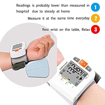 FDA Certified Wrist Digital Blood Pressure Monitor With Accurate Readings 180 Memories for Two User With IHB and WHO Indicator Large Screen Display Portable Case for Home use