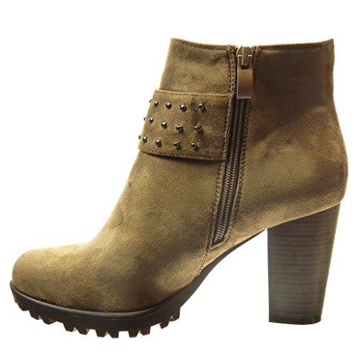 Angkorly - damen Schuhe Stiefeletten - Combat Boots - Nieten - besetzt - Schleife Blockabsatz high heel 8.5 CM - Khaki