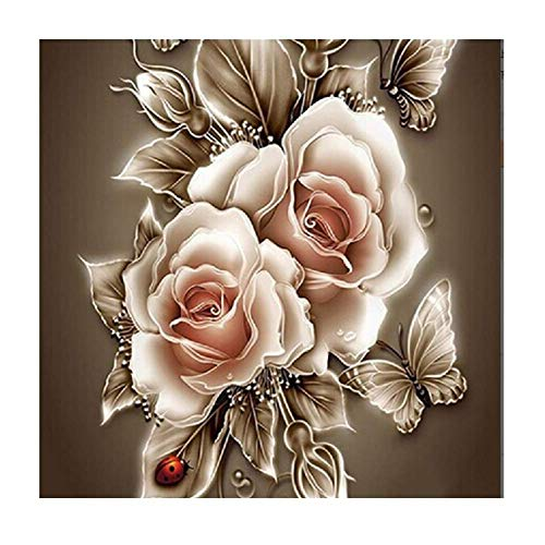 YEESAM ART New 5D Diamond Painting Kit - Golden Roses Flowers Butterfly - DIY Crystals Diamond Rhinestone Painting Pasted Paint by Number Kits Cross Stitch Embroidery (Golden)