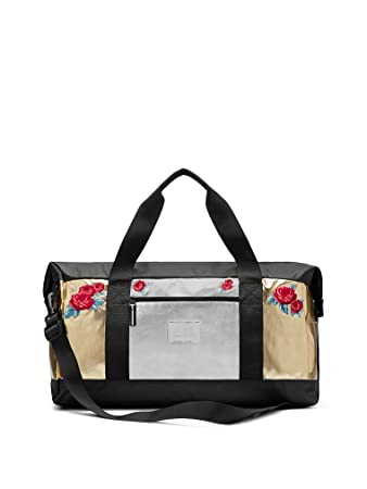 cdf55d961797 Amazon.com: Victoria's Secret PINK duffle bag silver gold roses Tote Travel  Limited E. Weekender: SALEALL HQ LLC