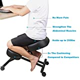 DRAGONN Ergonomic Kneeling Chair, Adjustable Stool For Home and Office - Improve Your Posture With an Angled Seat - Thick Comfortable Cushions
