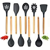 Kitchen Utensil Set - 9 Best Silicone Cooking Utensils With Natural Hard Wood Handle- Nonstick Silicone Spatula Set- Best Kitchen Utensils Tools for Gift