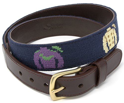 Needlepoint Mens Belt with Jockey Silk Design Hand-stitched Using Top Quality Cotton on Full Grain Leather Backing (Size 40)