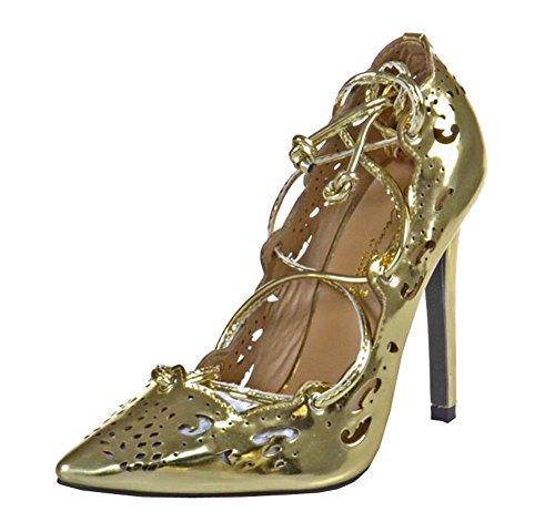 plus Größe Schuhe Frauen Strappy Absätze Pumps 2015 sexy Ausschnitte Damenschuhe schnüren hoch Absätze Damen spitz Zeh Pumps Kleid Schuhe Gold