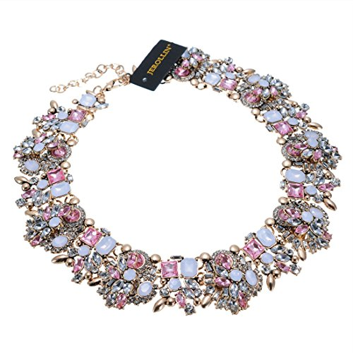 Chunky Costume - Jerollin Crystal Statement Necklace (Earrings Set), Vintage Chunky Chain Choker Bib Statement Necklace Fashion Costume Jewelry Necklaces (Set) for Women