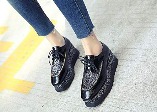 Up Muffle Shoes Women 34 Stitching Casual Colormatching 4Cm Lace Platform Eu Sequin Heel Size 40 7Cm Platform Pump Shoes Casual Waterproof Wedge Black Shoes Shoes Bw6aIwnxq