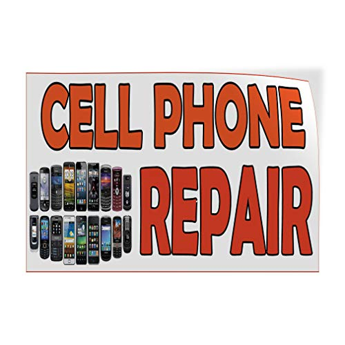 Decal Sticker Multiple Sizes Cell Phone Repair White Orange Retail Cell Phones Outdoor Store Sign White - 10inx7in, Set of 5