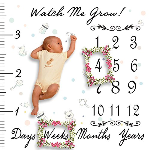 "Baby Milestone Blanket Fleece - Photography Background, Extra Soft Blanket, No İroning Required, Boys or Girls, 47""x47"" Size, Age Milestone Swaddle Blanket with Days and Months"
