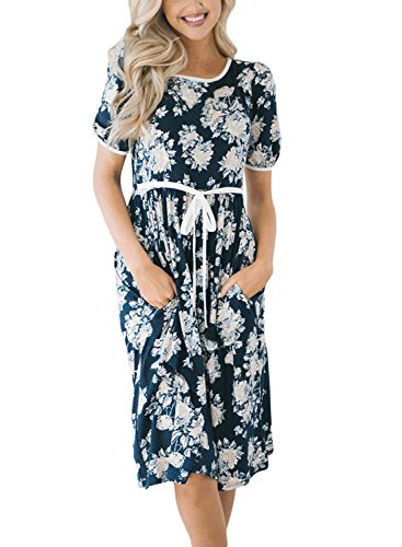 Lovezesent Women's Summer Short Sleeve Floral Printed A Line Casual Loose Fit Midi Dress Party with Pockets Blue Large - Loose Fit Printed Pocket