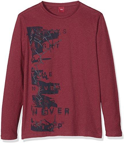 s.Oliver Jungen Langarmshirt T-Shirt Langarm, Rot (Red Melange 35w3), 140 (Herstellergröße: S)