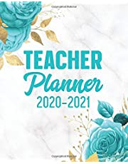 Teacher Planner 2020-2021: 12 Month Academic Year Calendar Agenda & Lesson Organizer July 2020 - June 2021 (Weekly/Monthly) Inspirational Quotes Turquoise Floral: Time Management Journal