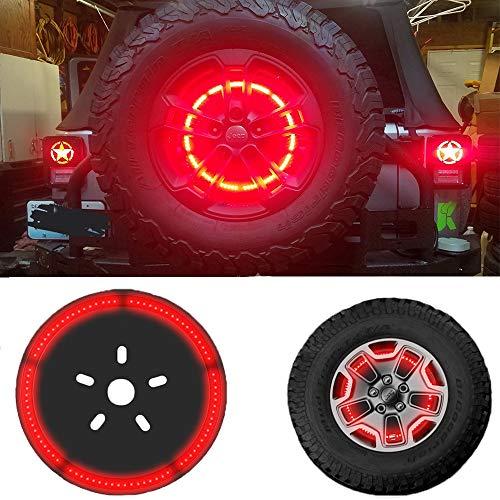 Spare Tire Brake Light Wheel Light LED 3rd Third Brake Light Lamp Ring for Jeep Wrangler 1997-2017 JK TJ LJ YJ CJ