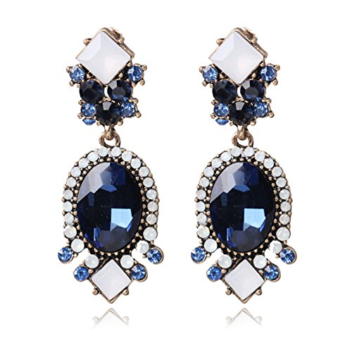 Blue Teardrop Crystal Earring Studs Wedding Bridal Chandelier Long Dangle Earrings for Women and Girls ()