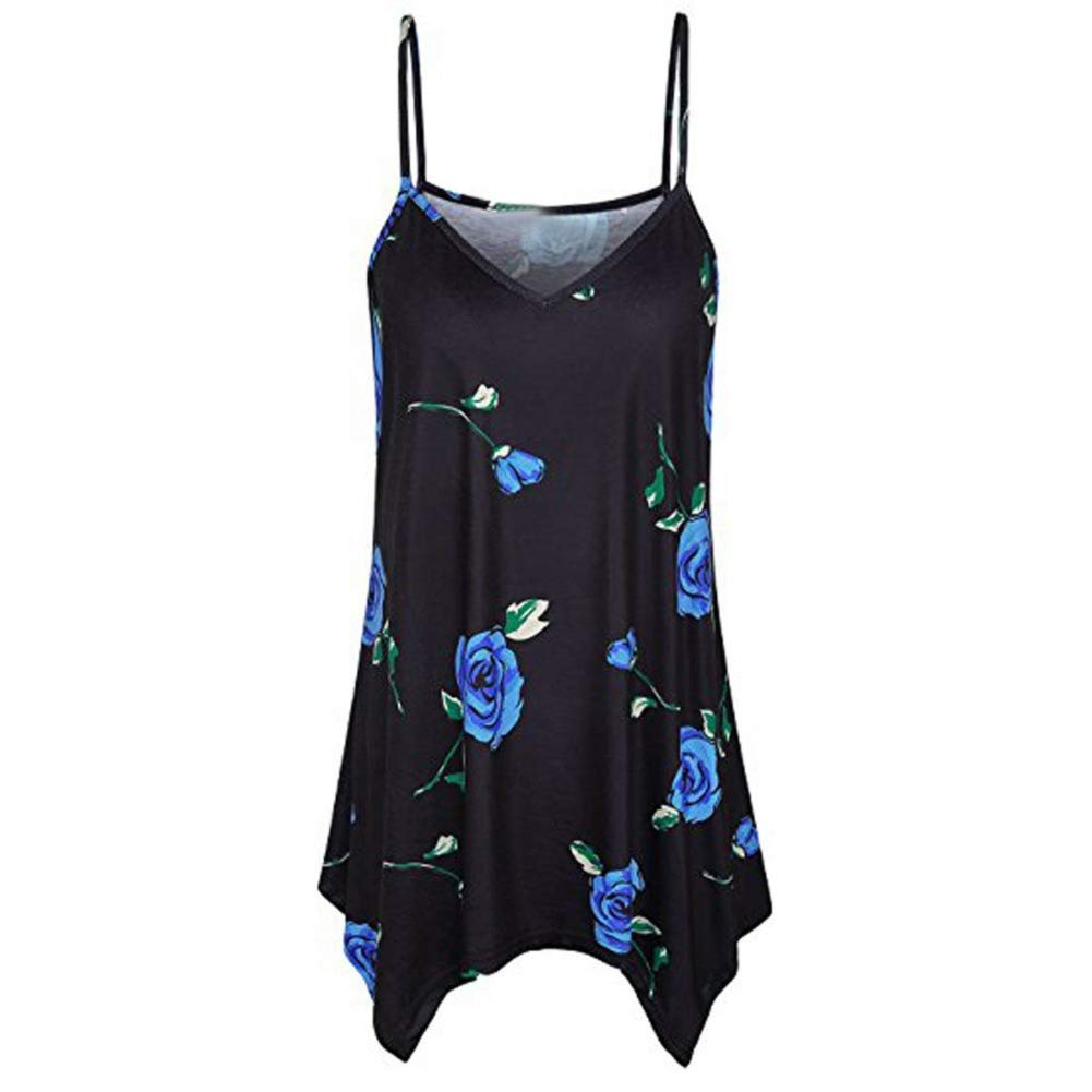 Women Tank Top,Lowprofile Lady's Sleeveless Blouse Basic V Neck Camisole Strap Irregular Flowy Casual Camis Tank Top Shirt