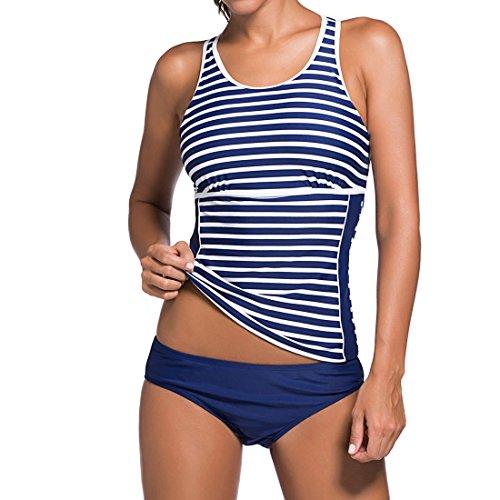 DISSA HT41958 Women 2018 Fashion Blue 2PCs Bandeau Tankini Swimsuit,UK Size 12-14(XL) by DISSA